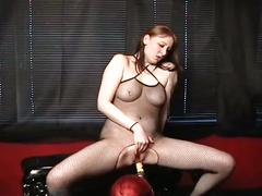 lesbian, colored hair, fishnets, machine fucking, oriental, sybian, toying pussy