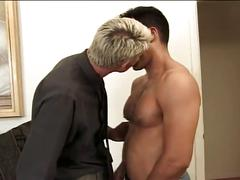 Gorgeous white male ass fucked by hairy hunk