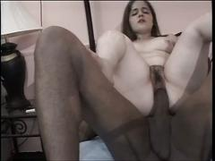 Cute brunette babe sucks cock, then gets fucked by her hung black lover