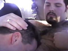 Amateur hairy bear strips and furiously sucked on in the car
