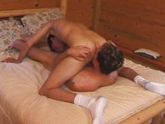 Sleazy threesome all holes pounding with amateur cum junkies