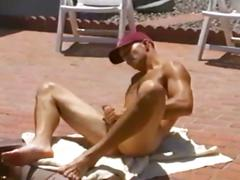 Horny dane stone jerking off in jacuzzi