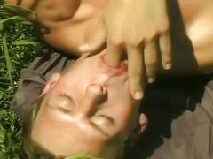 Horny dude cock tugging in the park
