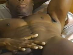 Monster black cock ebony muscled stud jerking in hot solo session