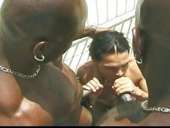 Latino dude throat fucks two black studs