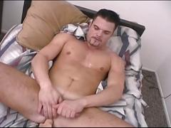 Horny muscled school stud strips and jerks big dick in hot solo