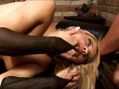 Sexy blonde pounded by hard massive cock