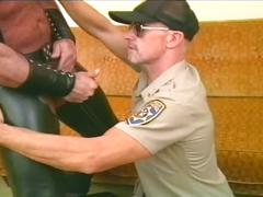 Mature officer sucks off hot bear in tight leather pants