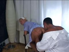 Sexy blonde nurse sucks doctor's cock