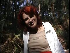 Readhead milf shows her camel toe pussy