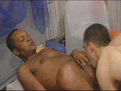 Hot studs rimming and fucking interracial threesome
