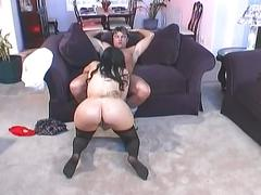 Horny dudes take this brunette home and rams her pretty hard