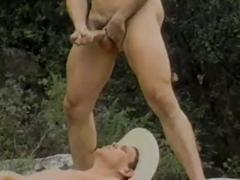 Cowboys rimming and bareback fucking outside