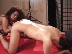Brunette fucks dudes ass with strapon