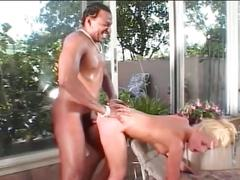 Horny blonde gets fucked hard both in ass and pussy!