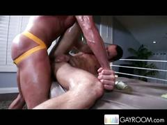 Marc peron gets rubbed and fucked by muscled masseuse