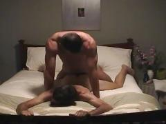 Horny muscled stud furiously pounding ripe ass twink hole on bed