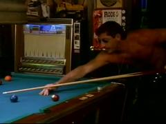 Ass killing muscled studs pounding furiously on pool table in orgy