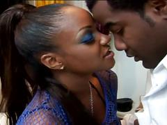 Busty ebony bitch drilled hard by her black lover