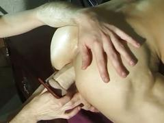 Two bald guys gets their asses fucked and stuffed with huge dildo