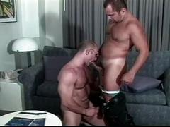 Delicious muscled cop daddies injecting ass holes with big dicks