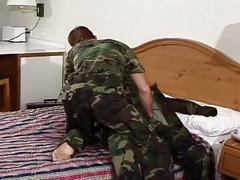 Young military studs fervent anal whacking session