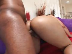 Monster black cock drilling candy ass ebony slut on couch
