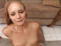 Sexy blonde fucked by three black dicks