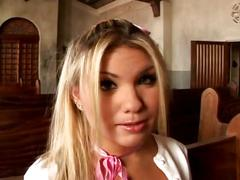 Young religious babe drilled hard in the church