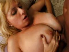Milf with huge tits sucking cock and fucked hard