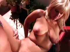 Hot blonde babe fucked by older cock outdoors