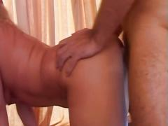 Horny blonde bitch drilled by two massive cocks