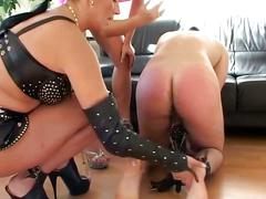 Two hot merciless girls torture and finger guy's ass