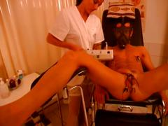 Hot nurse torturing guy's cock