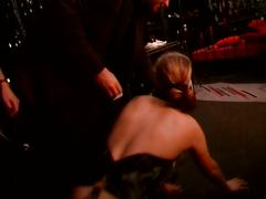 Blonde tortured by guy and chick
