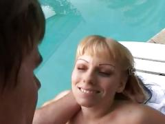 Hardcore threesome pussy pounding by the pool side