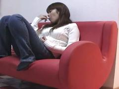 Japanese girl masturbates with her clothes on