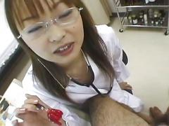 Asian nurse gives blowjob treatment