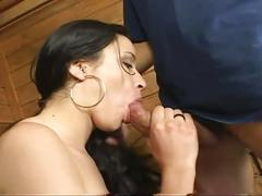 Cute russian brunette gets big cock to hardcore fuck