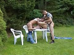 Amateur sex movie with a horny babe with two big cock in a outdoor sex
