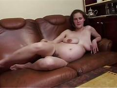 Amateur sex movie with hot pregnant milf and fucked in unshaved pussy