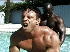 Two monster black cocks versus muscled builder white stud outdoor