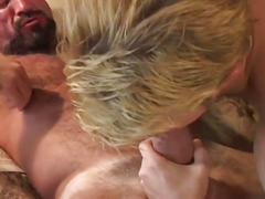 Horny bear sucking young guy's ass and fucking him