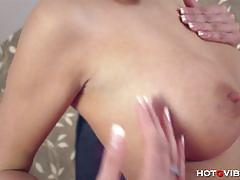 Pornstar emma strips and plays with her hotgvibe.