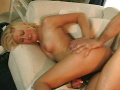 Daddy's old cock drilling hot blonde ass