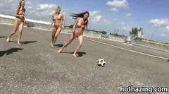 Bunch of girls playing football and oral sex under...