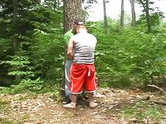Two fat gay lovers having some naughty fucking in the woods.