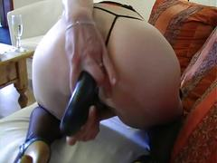 amateur, milf, stockings, toys, anal sex, ass toying, cucumber, dildo, fishnets, german, homemade, huge dildo, mature amateur, mom, newbie, pantyhose, shaved pussy, vibrator