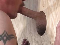 They build a glory hole at home to suck cock