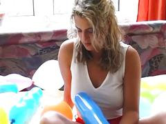 Balloon teasing pussy fun